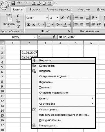 Рис. 2.114. Контекстное меню диапазона данных. Пункт «Вырезать»