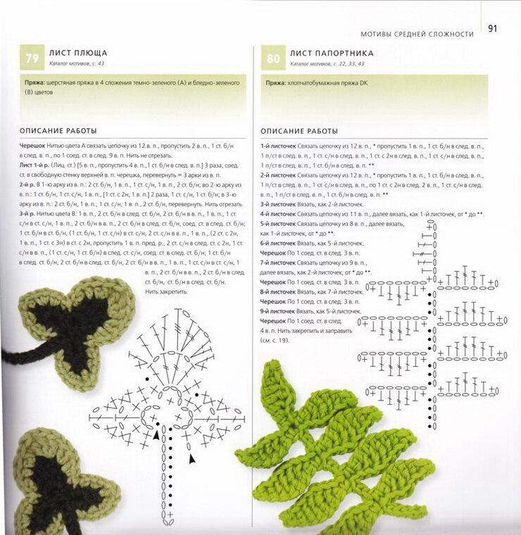 Вязаные листья крючком Вязание для.