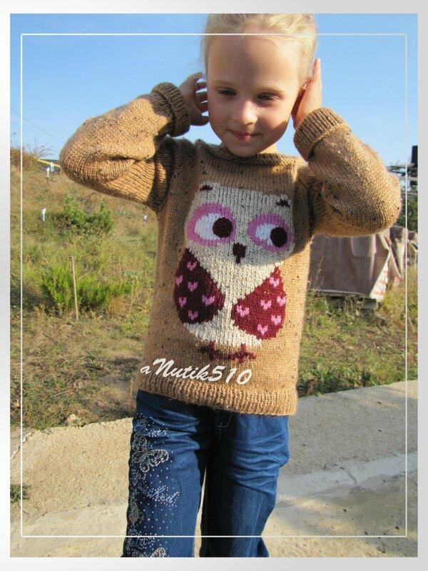 Вязание свитер с совой спицами 26