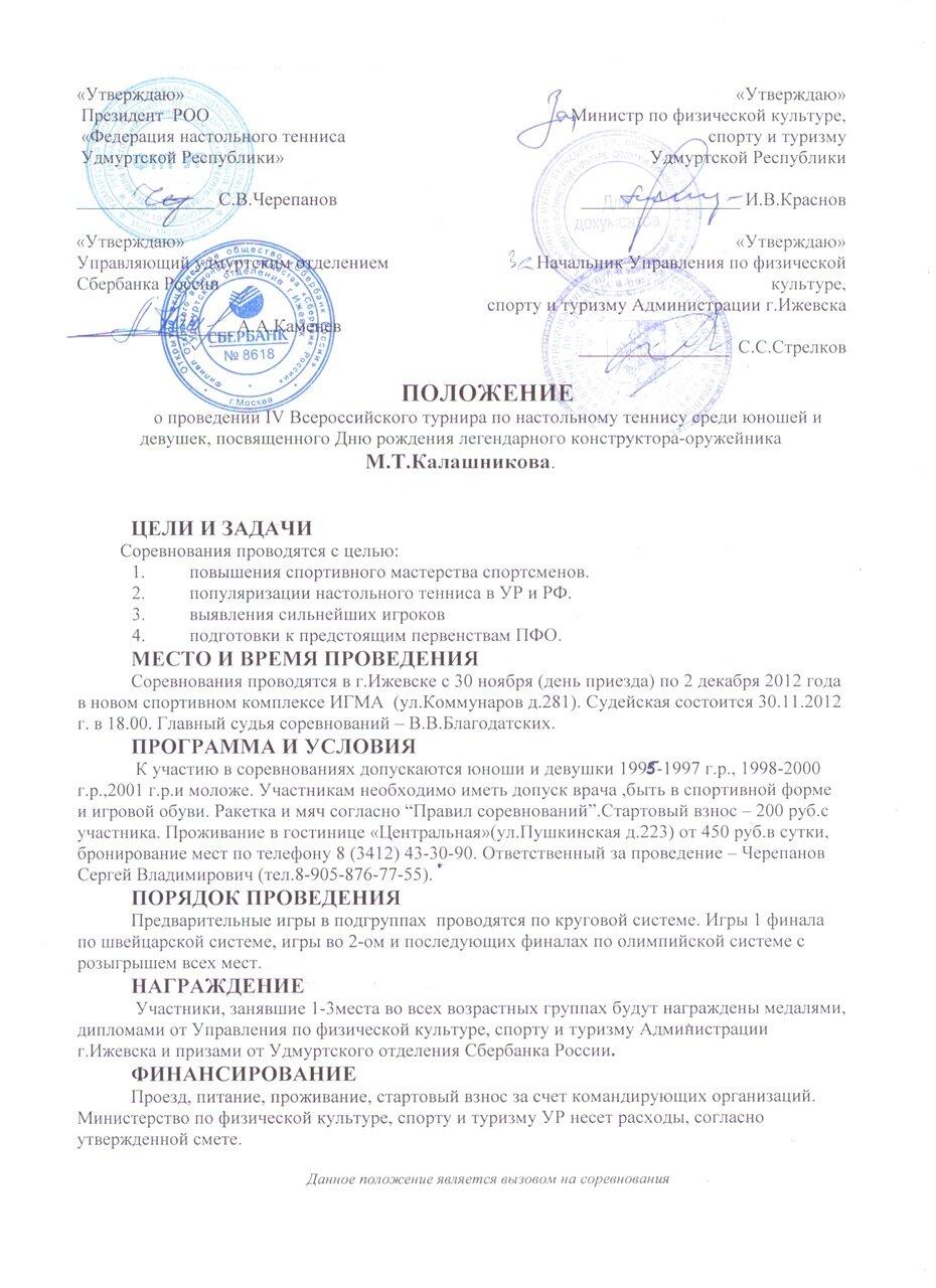 IV Всероссийский турнир среди юношей и девушек, посвященный Дню рождения М.Т.Калашникова