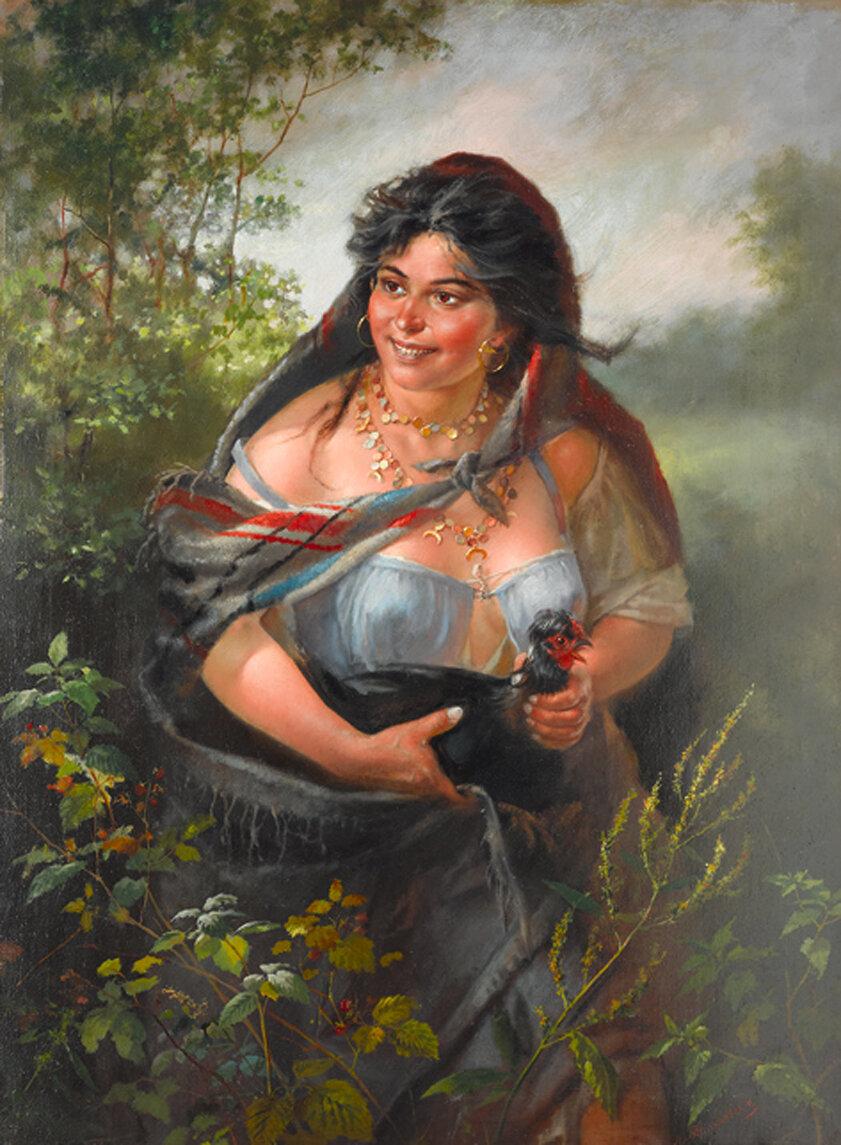 Картина «Цыганка с петухом», автор - Алексей Транковский.jpg