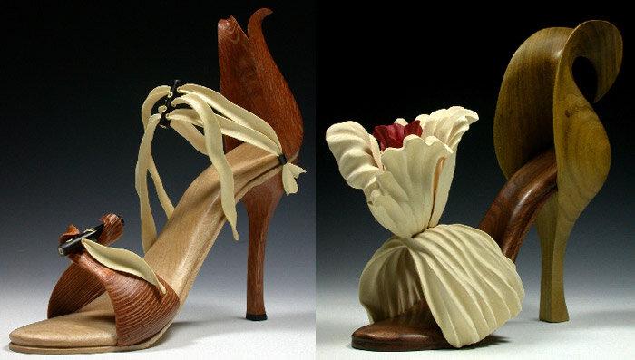 туфли из дерева