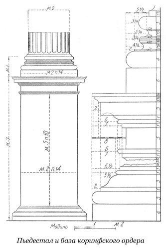 Пьедестал и база коринфского ордера по Виньоле, чертеж