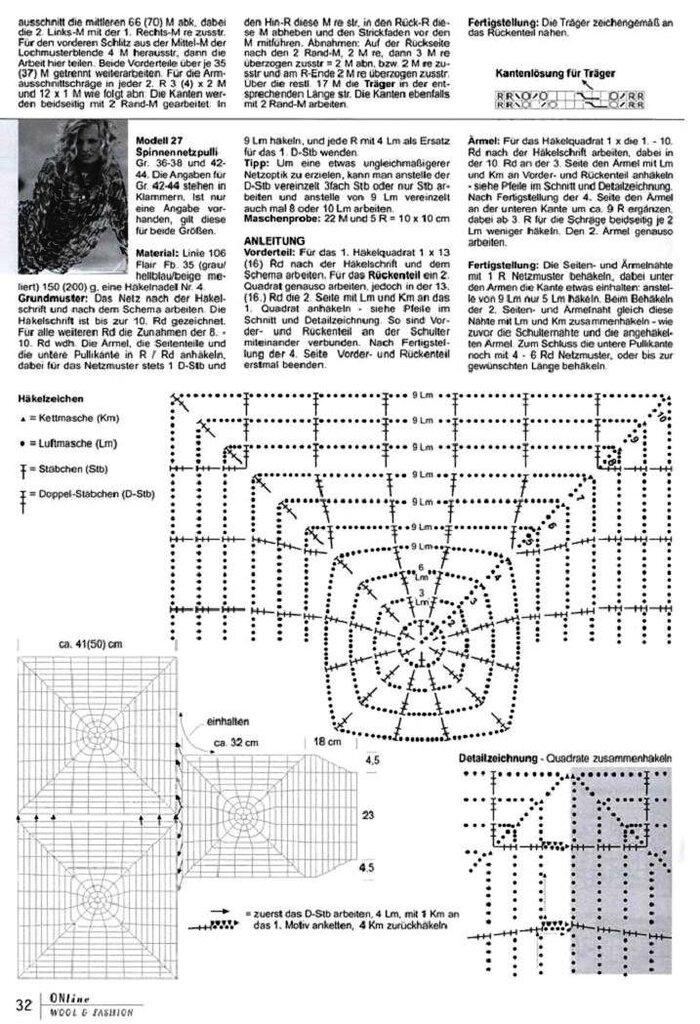 Схема вязания кофты паутинки на спицах