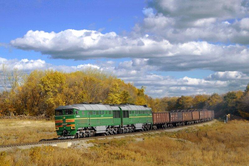 Тепловоз 2ТЭ116-1046 с грузовым составом.
