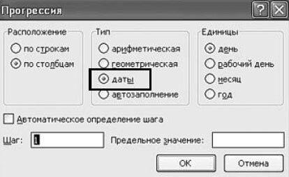 Рис. 2.111. Окно «Прогрессия». Пункт «Даты»