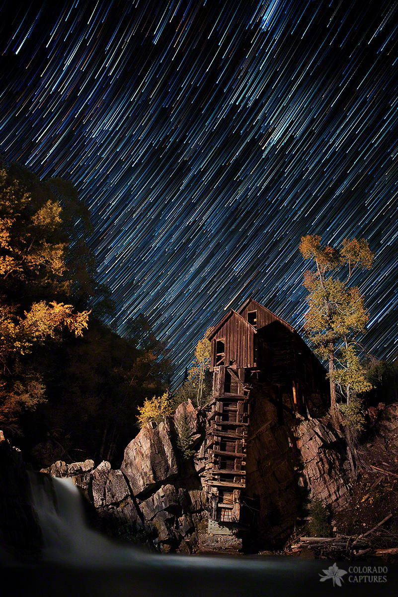 Starry Night Star Trails At The Crystal River Mill