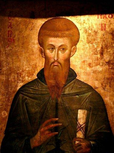 Святой Равноапостольный Наум Охридский. Икона XIV века. Иконописец Иоанн Теорианос. Галерея икон в Охриде.