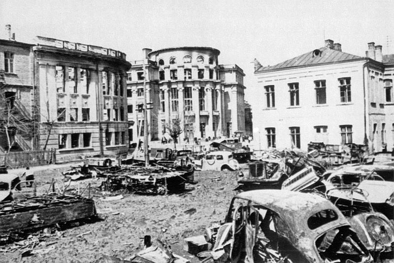 Центр Винницы после отступления фашистов
