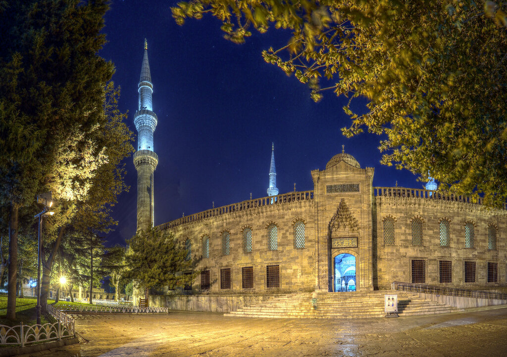 The mosque of Sultan Ahmet (Blue mosque). Night Istanbul in HDR