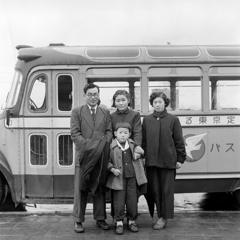 Family and a Bus - 1950s Japan