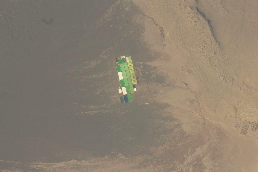 22) Испарительные бассейны в Пампа Дель Тамаругал, Чили. (NASA/JSC)