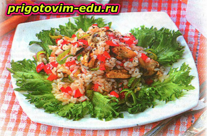 Мидии с рисом и луком-пореем