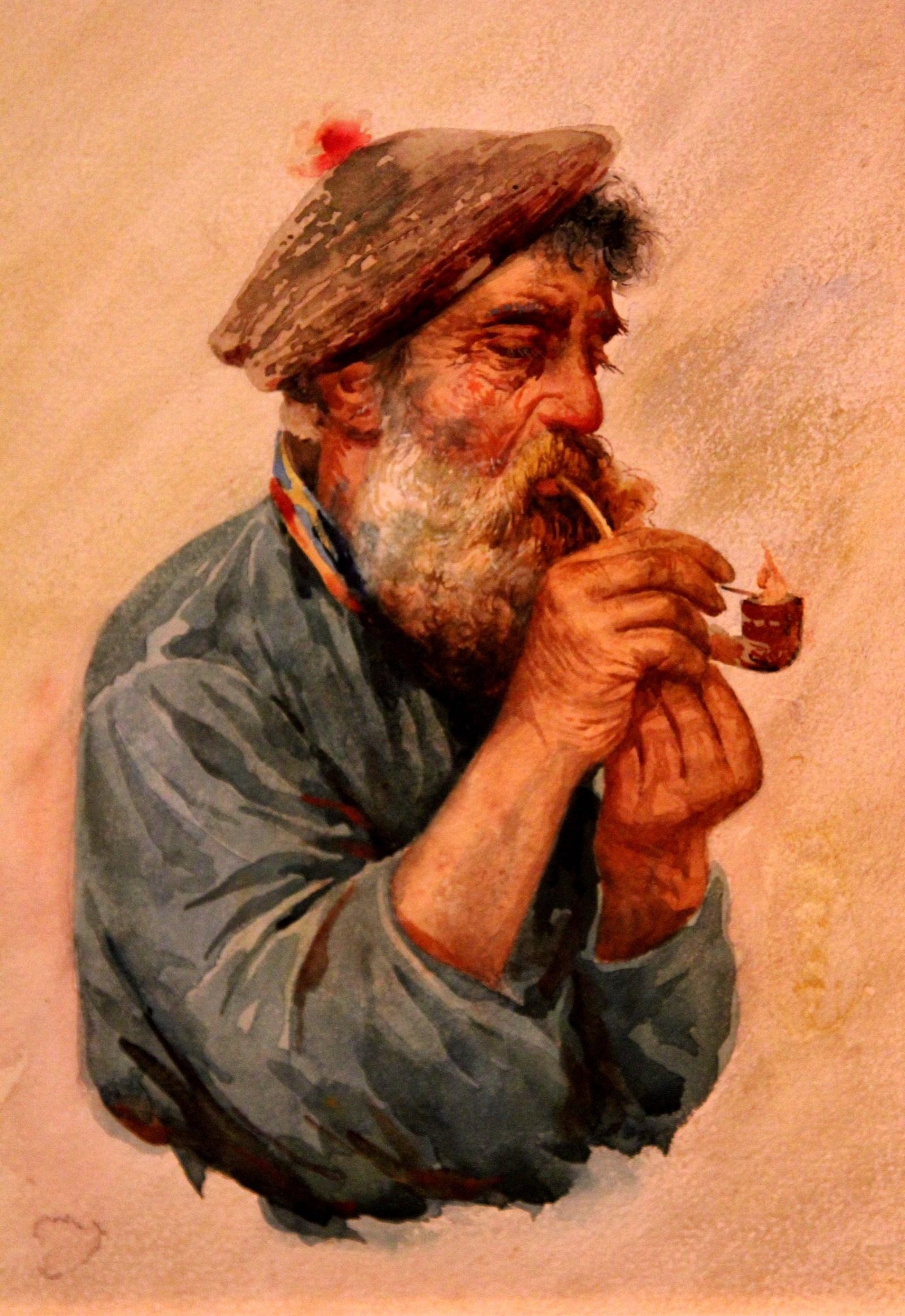Бакст Лев. 1866-1924 Рыбак с курительной трубкой. 1890-е Бумага, наклеенная на картон, акварель, белила Из корпоративной коллекции Белгазпромбанка