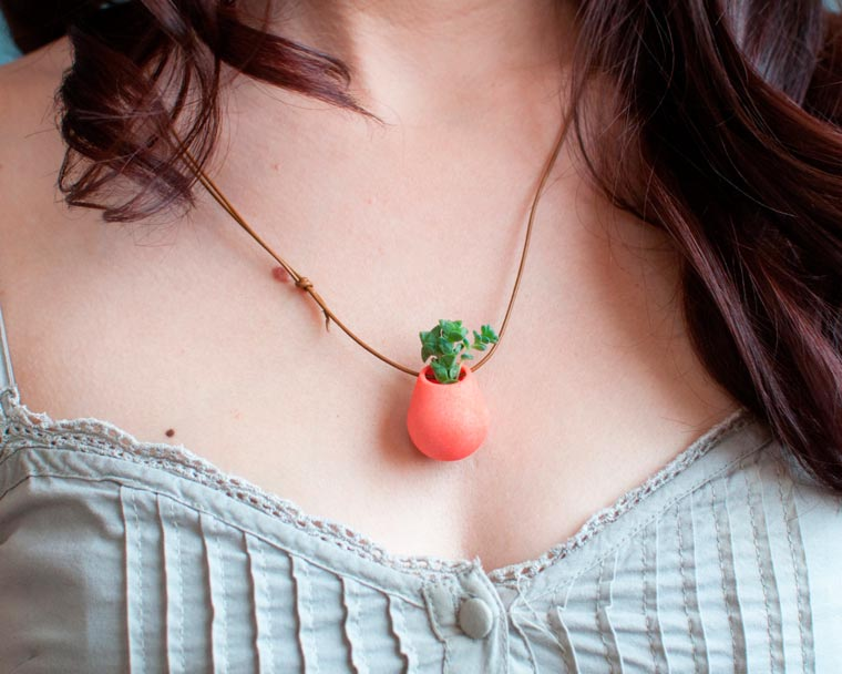 Wearable Planter - Some tiny planters to wear around your neck or on your bike