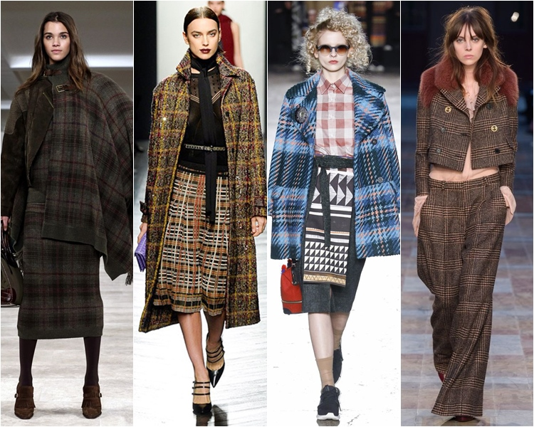 английская клетчатая ткань, мода осень-зима 2016-2017