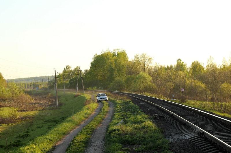 Перегон Воробецкая - Гущино, вид на Новосокольники. Видны остатки второго пути