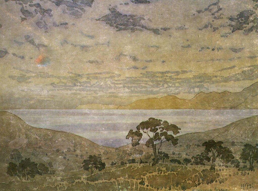 волошин Неспокойные воды залива и громады седых облаков. 1925