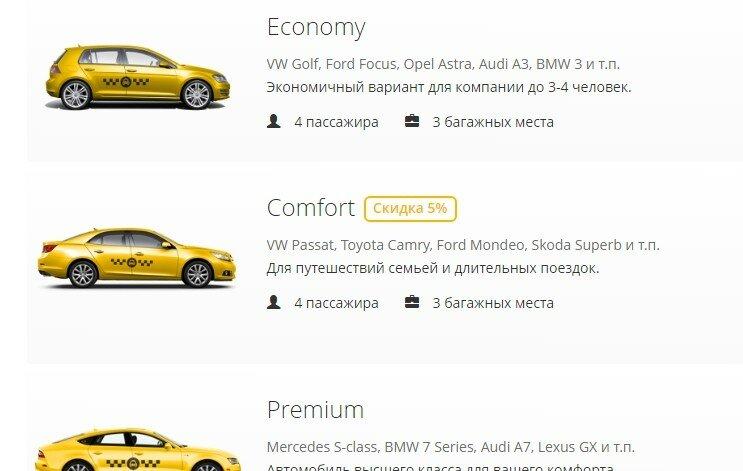 Можно выбрать класс автомобиля