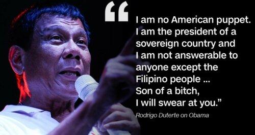 Шпынять и посылать  США становится уже международным трендом. Вот и Президент Филиппин туда же