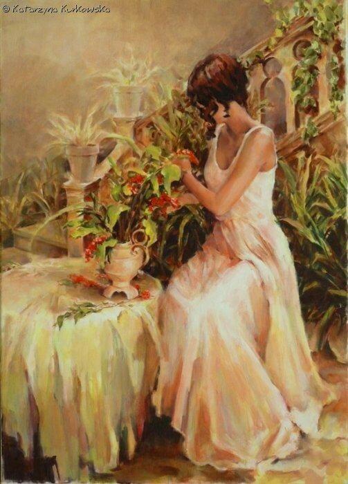 Женщина и цветы,