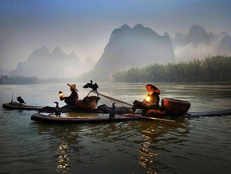 Рыбаки на реке Ли в Китае