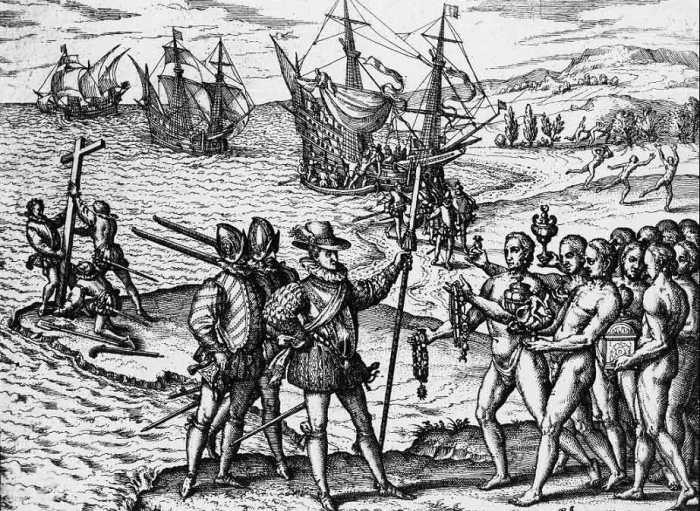 Прибытие Колумба на Эспаньолу (Гаити) в 1492 г. Первым европейским поселением в Новом Свете (который