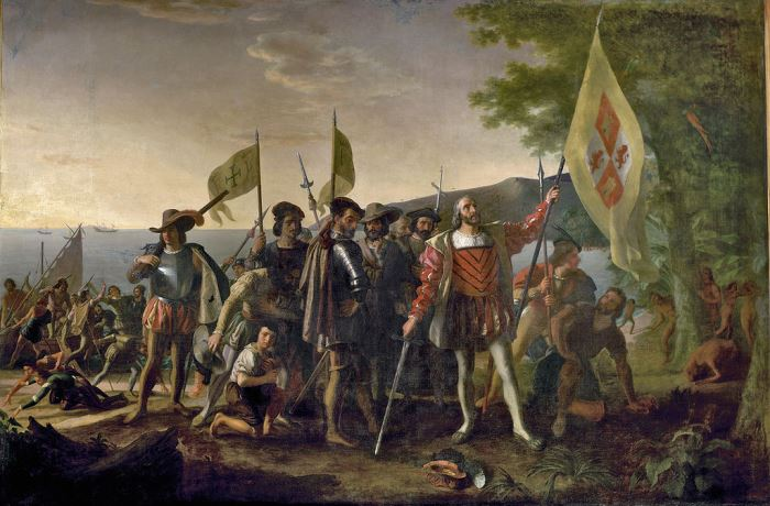 Д. Вандерлин. Высадка Колумба в Америке, 1847 Самой известной ошибкой Колумба была уверенность в том