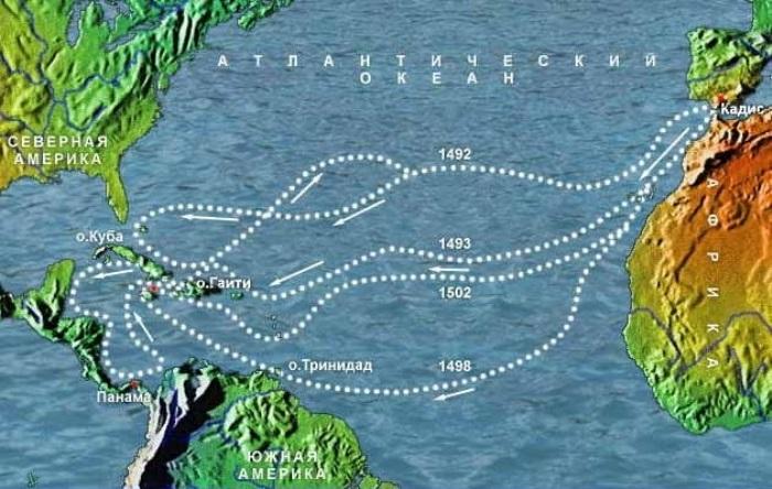Маршруты экспедиций Христофора Колумба Главным аргументом Колумба было предположение о том, что в Аз