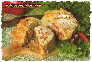 Пирог с болгарским перцем и свининой