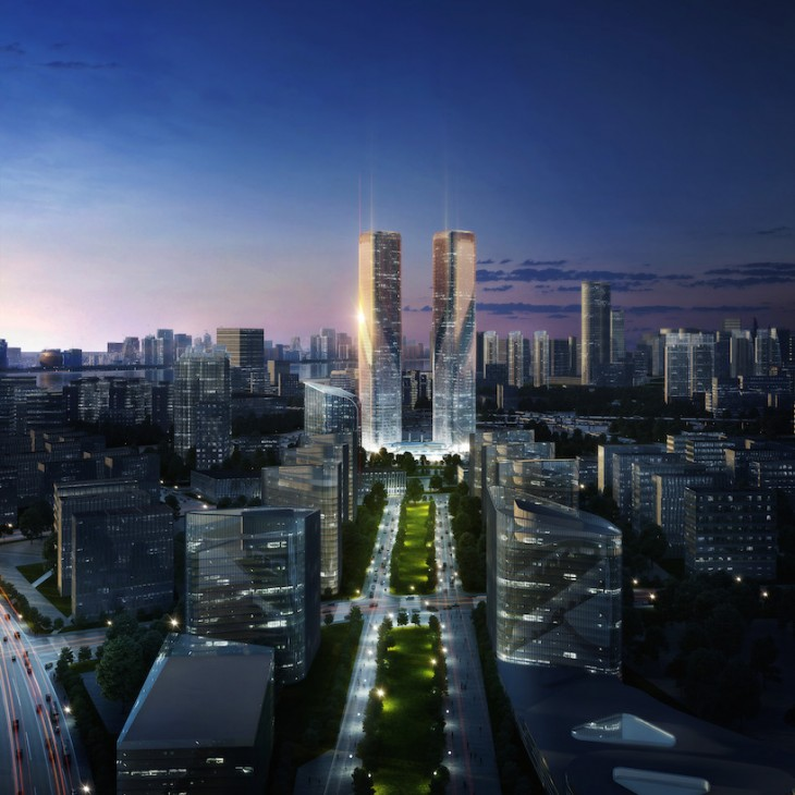 LAVA 's Zhejiang Gate Towers are an iconic entrance to the city of Hangzhou. The design of the two t