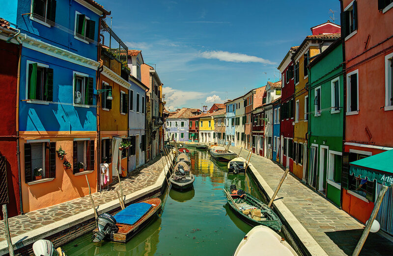Down the Canal Burano, Italy.