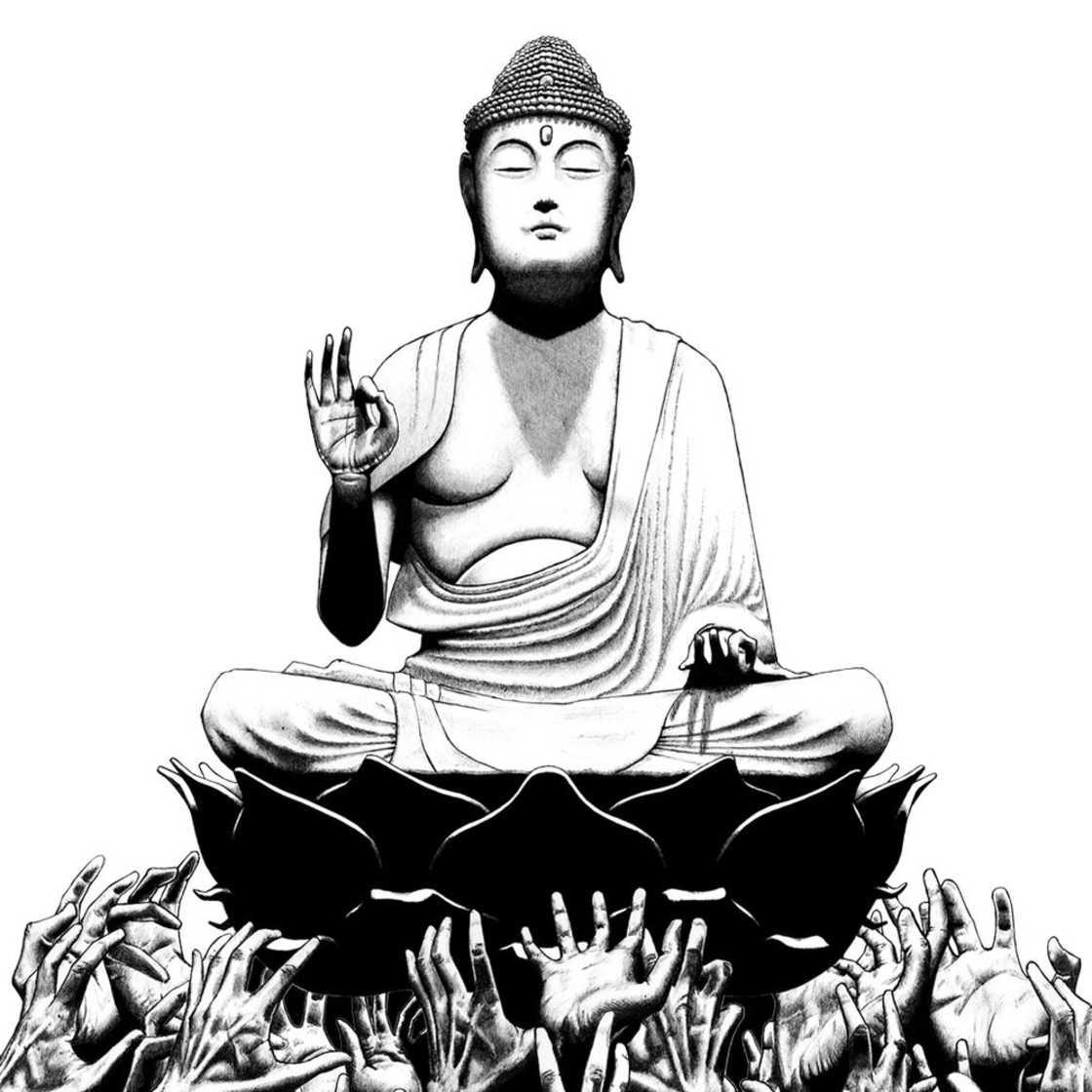 Versoes modernas de Buda feitas com caneta esferografica