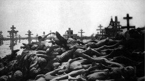 Кладбище. Трупы людей, умерших от голода