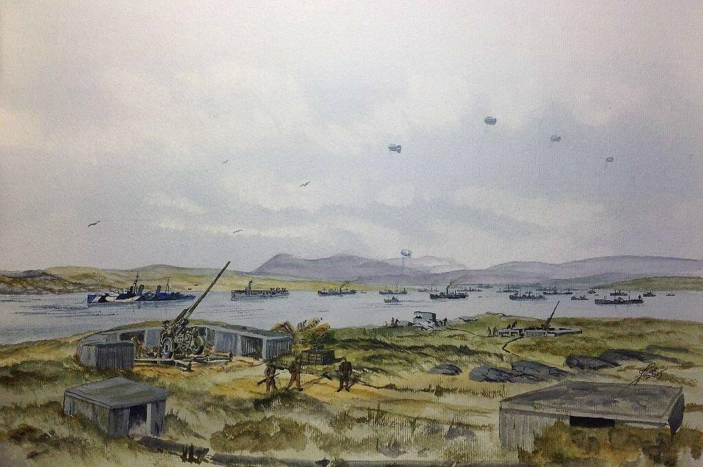 Heavy AA Gun site at Loch Ewe, HMS Scylla, MAC ship and convoy.