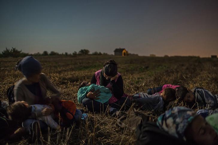 Родственники Маджида спят с детьми на руках на пшеничном поле. Они ждут, когда можно будет пересечь