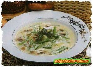 Суп с грибами и спаржей .Рецепт