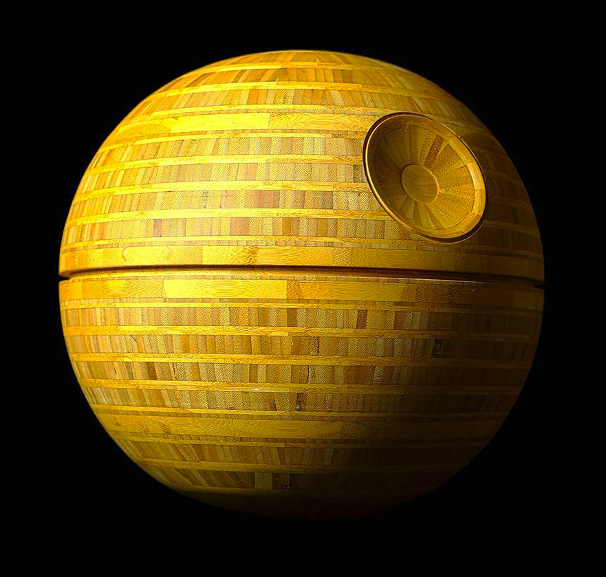 A Wood Turned Bamboo Death Star by Frank Howarth