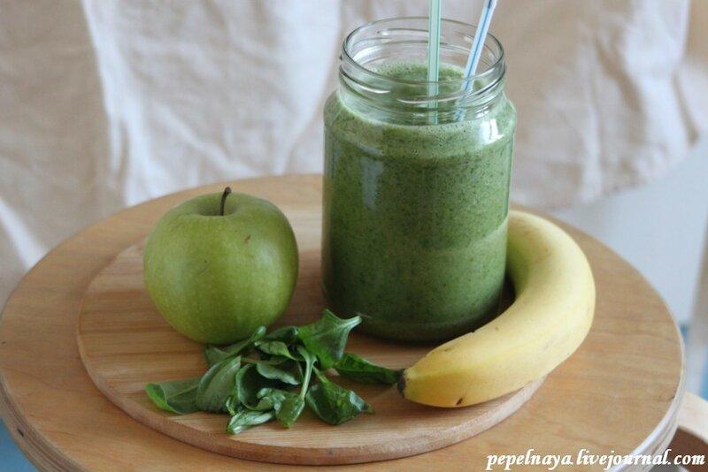 Смузи из яблока, шпината и банана