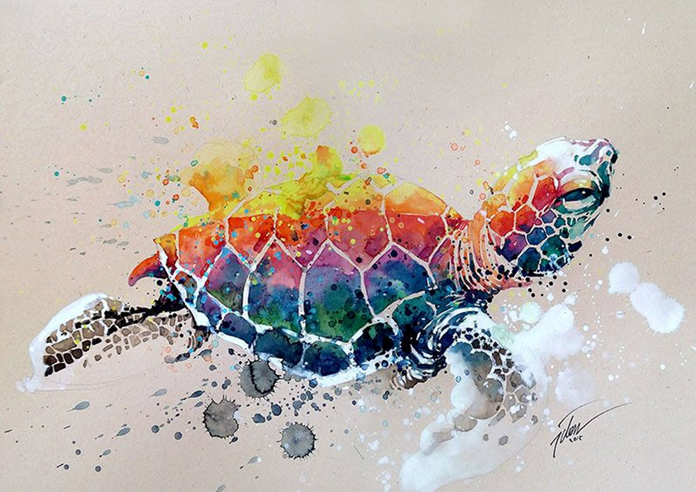 Cores vibrantes e aquarela: os animais de Tilen Ti