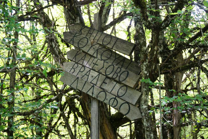 указатели на пешеходной тропе в горах Пинд, Греция