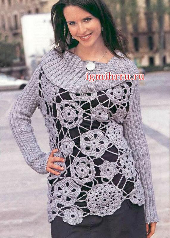 Кружевной светло-серый пуловер с рукавами в резинку. Вязание крючком и спицами