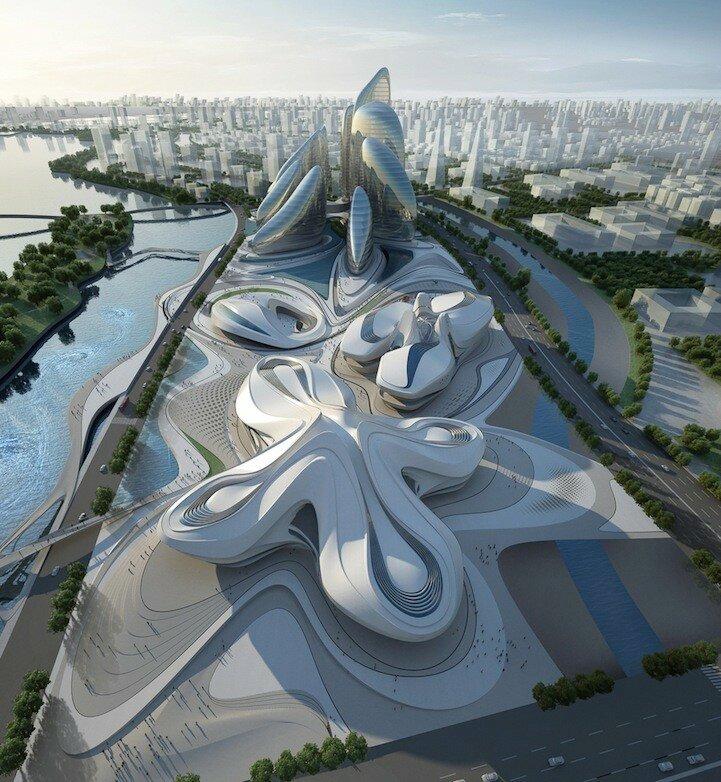 культурный центр Сhangsha Meixihu. Он расположился прямо в центре озера Мэйси китайской провинции Хунань.jpg