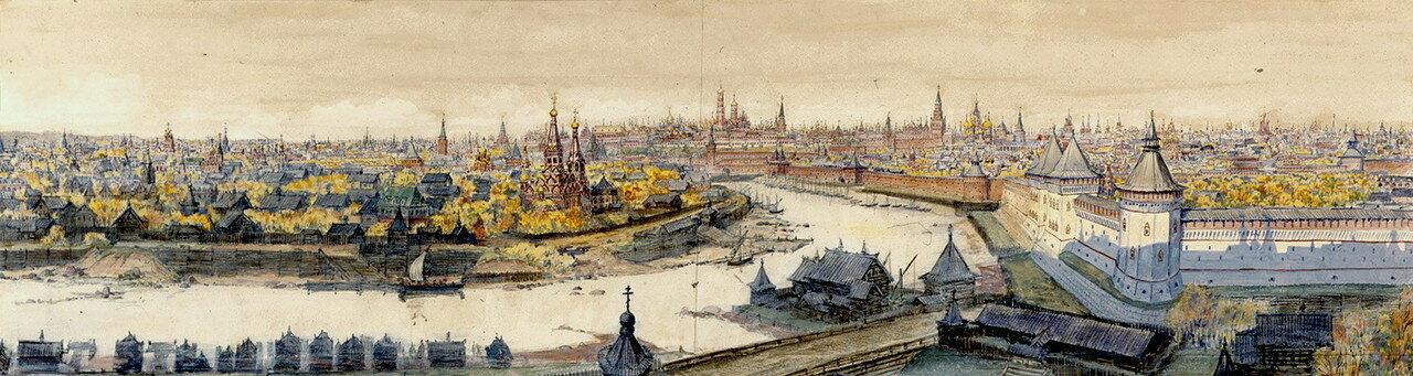 Вид на центр Москвы с востока, с Красного холма в 17 веке..jpg