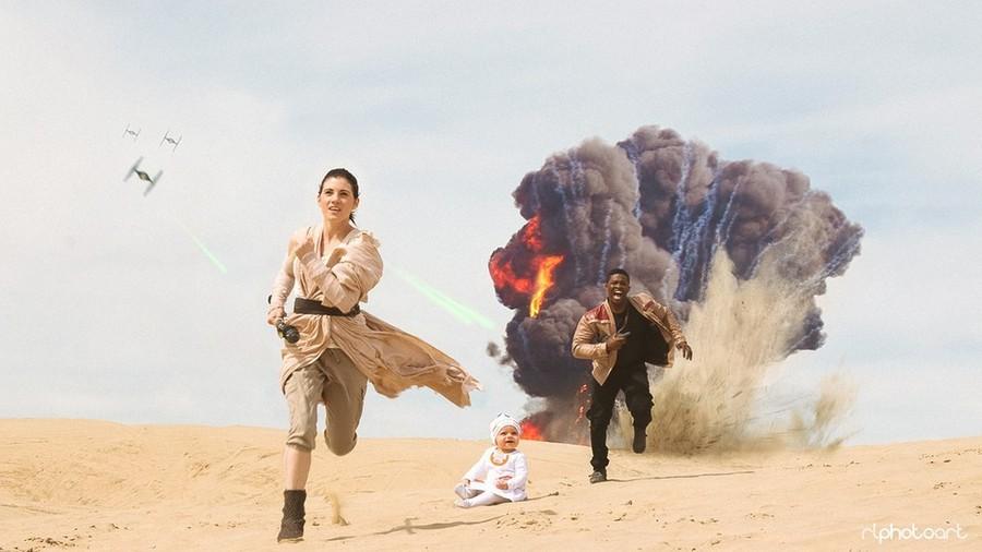 Пара с ребенком устроила фотосессию в стиле Рей и Финна из «Звездных войн»