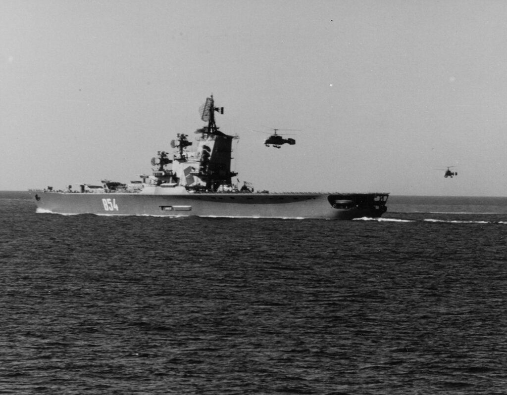 Soviet Kamov KA-25 HORMONE. Anti-submarine helicopters in flight over the Soviet Helicopter carrier MOSKVA, in the Mediterranean Sea. Thu, May 15, 1969.