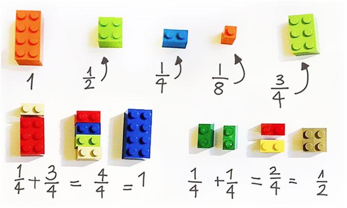 При помощи кубиков конструктора можно учить детей математике.