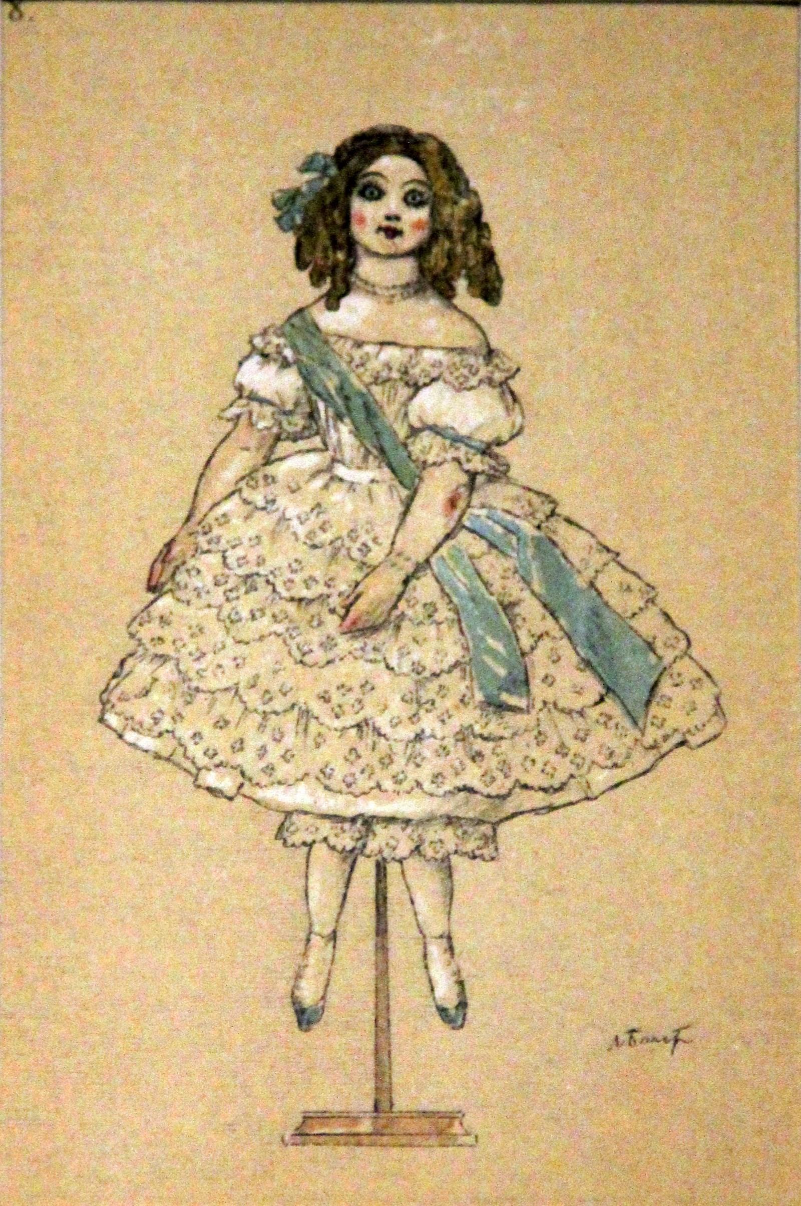 Одна из фарфоровых кукол. Бакст Л. Фея кукол. Источник заметки: aldusku.livejournal.com