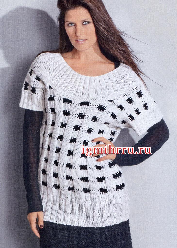 Классическое сочетание черного и белого: пуловер с круглой кокеткой. Вязание спицами
