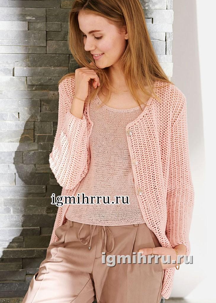 Женственный комплект розового цвета: жакет и топ. Вязание спицами